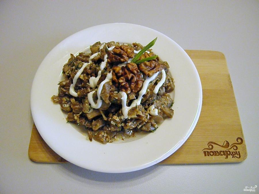 Салат с грибами жареными