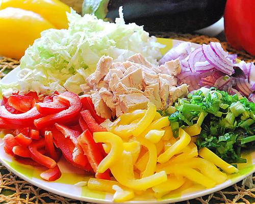 салат с куриным филе радуга рецепт