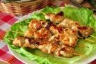Куриные шашлычки на шпажках на сковороде