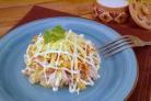 Слоеный салат с корейской морковью и курицей