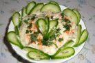 Салат Изумрудный с ветчиной, грибами и сыром