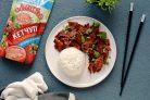 Соевое мясо по-монгольски с кетчупом Махеевъ