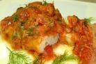 Треска с болгарским перцем и помидорами