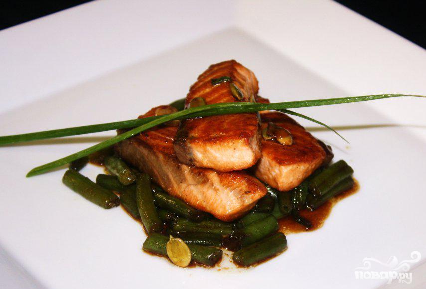 Рецепт Рецепт лосося с зеленой фасолью