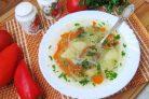 Овощной суп с перцем и зеленым горошком