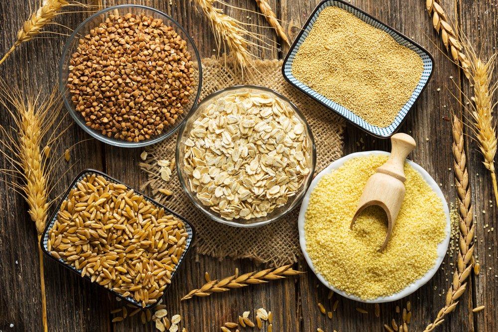 Крупы: гречка, рис, овсянка, кукуруза, пшеница