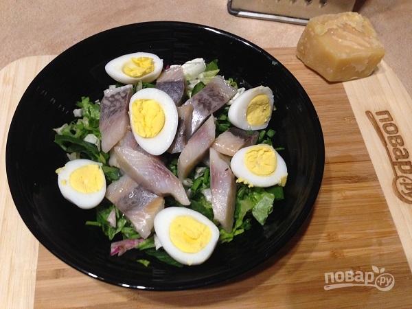Салат из свежей зелени с сельдью и яйцами