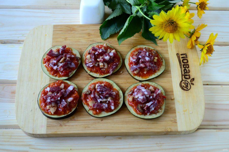 Мини-пицца на баклажанах