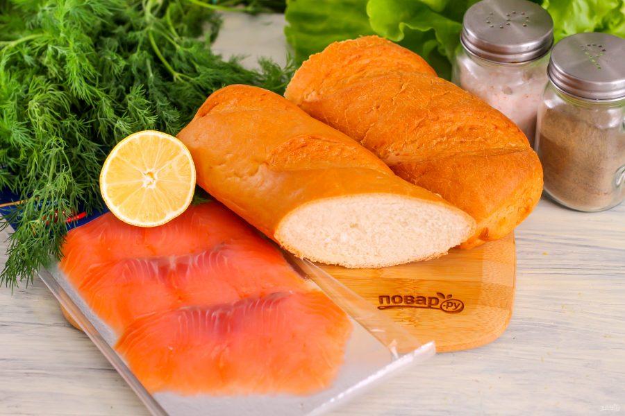 Ингредиенты для бутербродов с красной рыбой