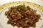 Теплый салат из чечевицы