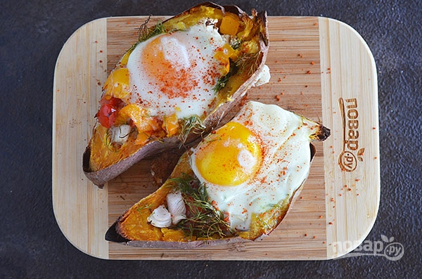 Завтрак в сладком картофеле