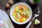 Суп с креветками и кальмарами