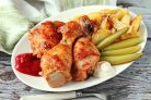 Курица с кетчупом и майонезом в духовке
