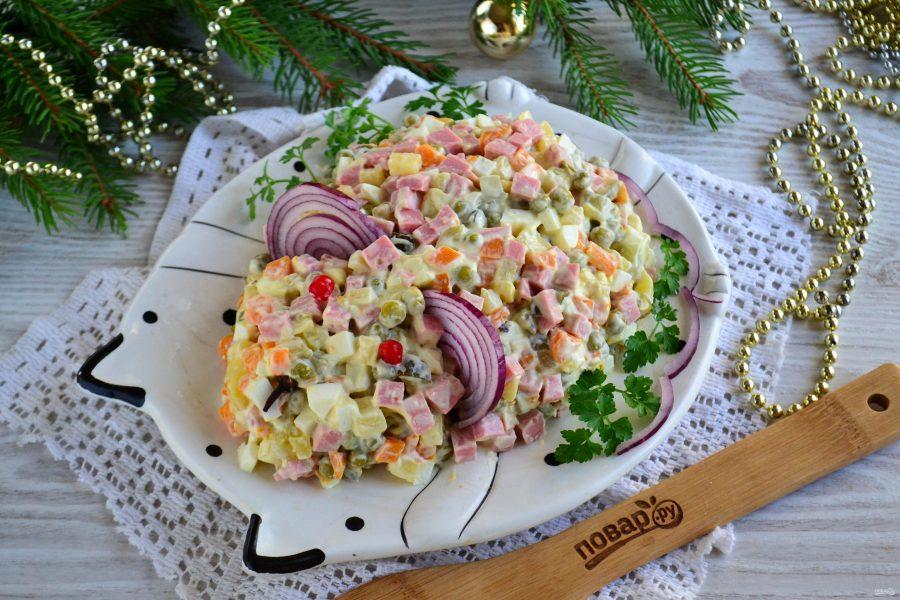 Оливье с колбасой на Новый год крысы