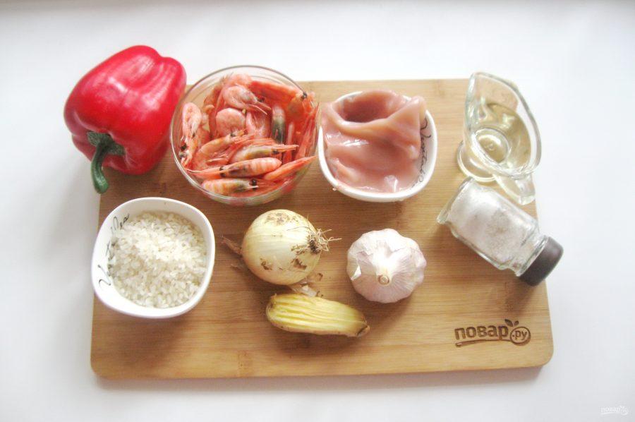 Рис с креветками и кальмарами