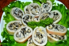 Кальмар, фаршированный грибами и рисом