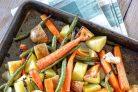 Запеченные овощи с медово-горчичной глазурью