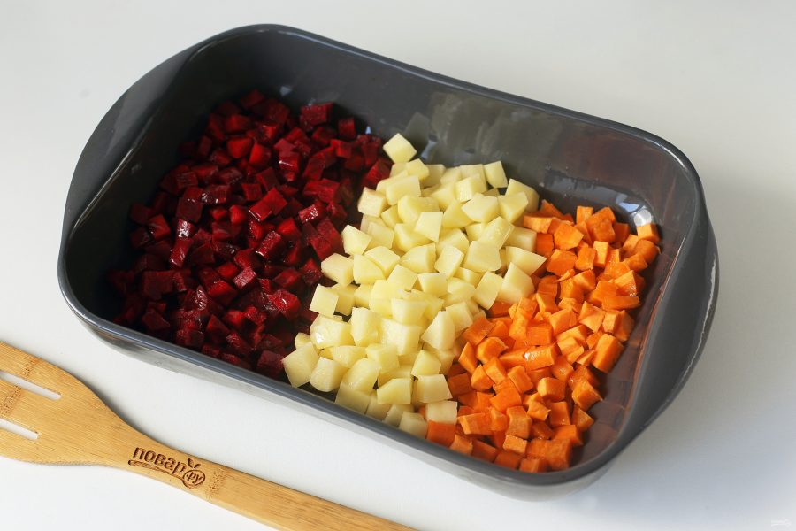 Винегрет из запеченных овощей