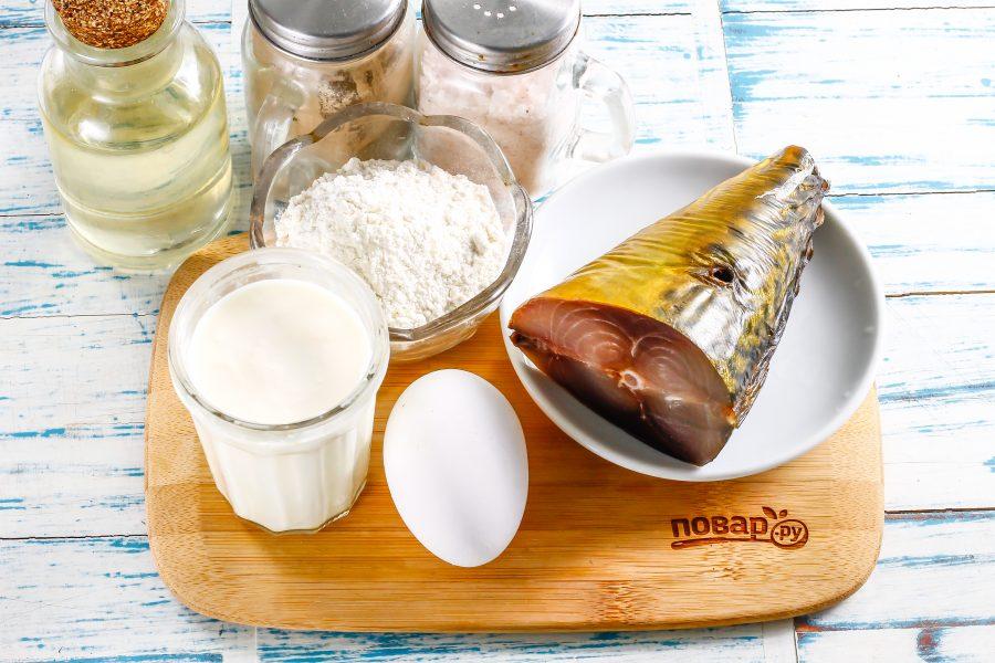 Ингредиенты для блинчиков с копченой скумбрией