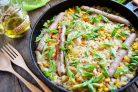 Рис с куриными колбасками