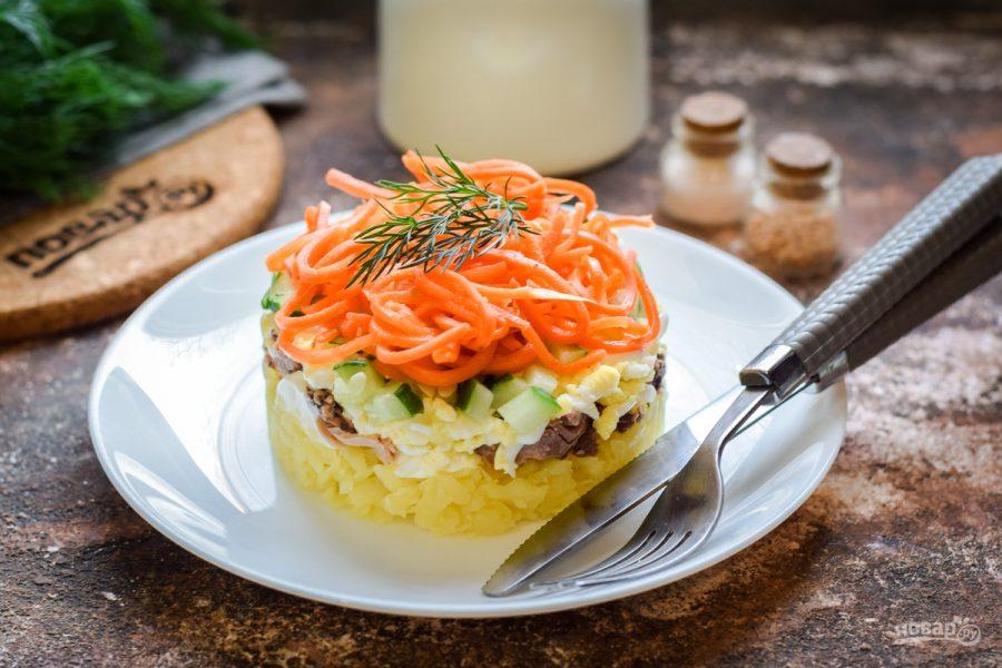 Слоеный салат с тунцом и картофелем