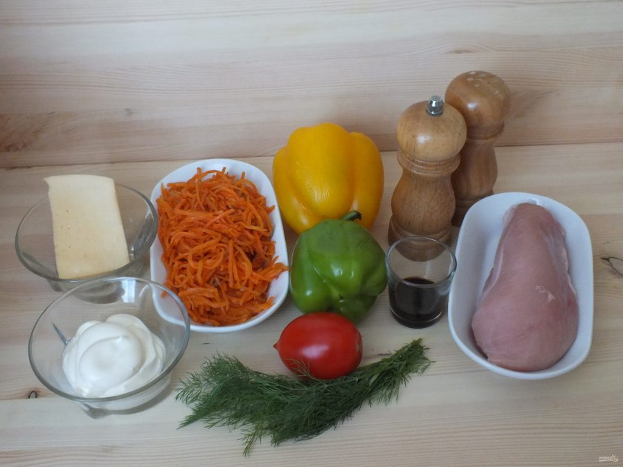 """Салат """"Светофор"""" с корейской морковью"""