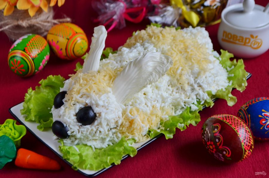 Пасхальный салат из курицы