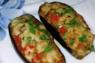 Овощные лодочки из баклажанов