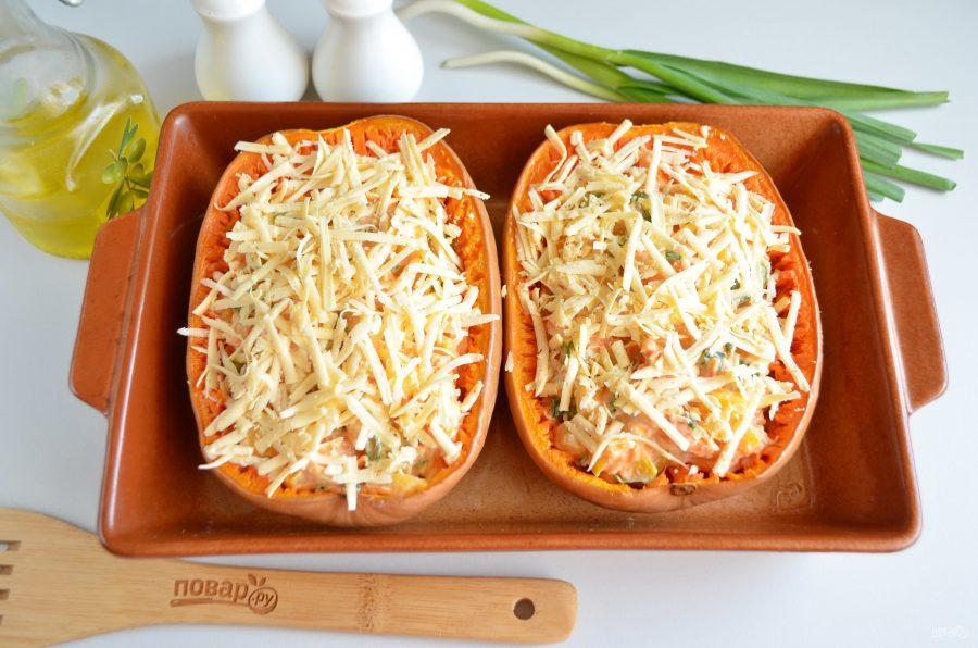 Фаршированная тыква-спагетти курицей