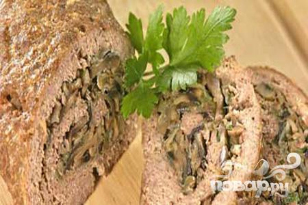 Рецепт Рецепт мясного рулета с грибами