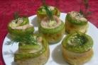 Рулетики из кабачков с яично-сырной начинкой