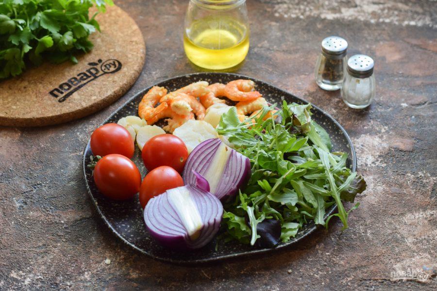 Салат из гребешков с рукколой