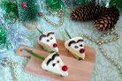 Новогодние канапе Мышки на крекерах