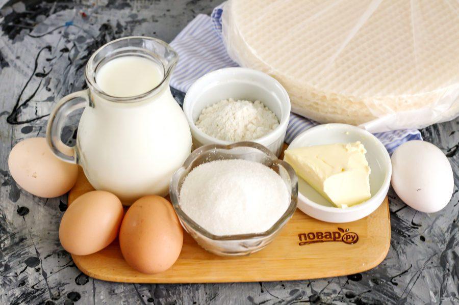 Ингредиенты для вафельного торта