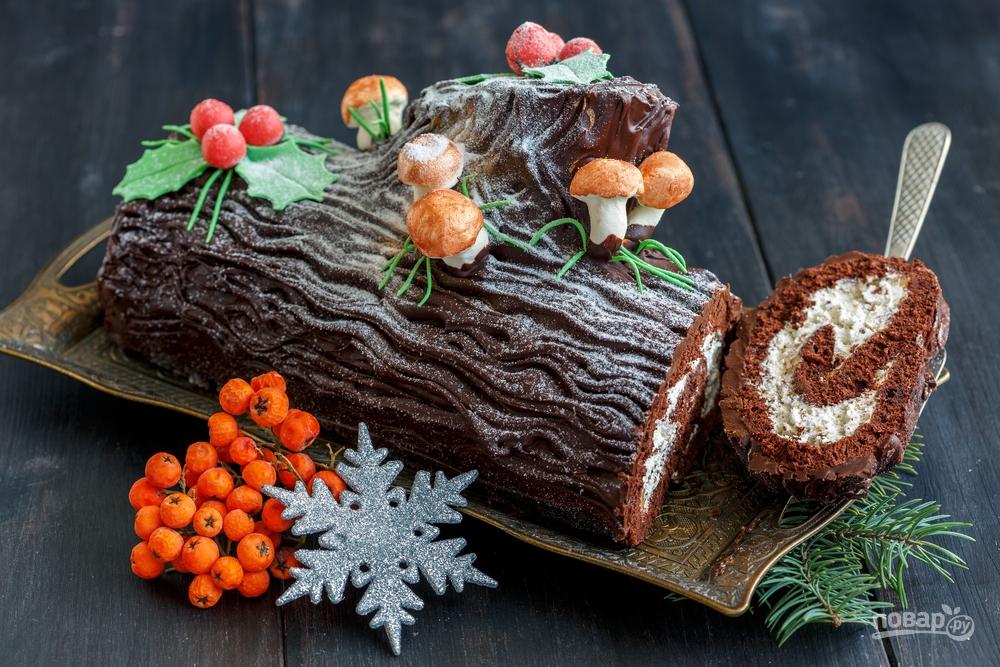 """Десерт """"Новогоднее полено"""""""