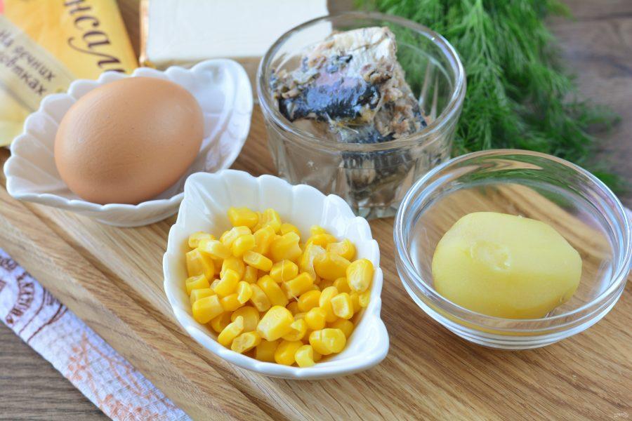 Рыбный салат с сыром