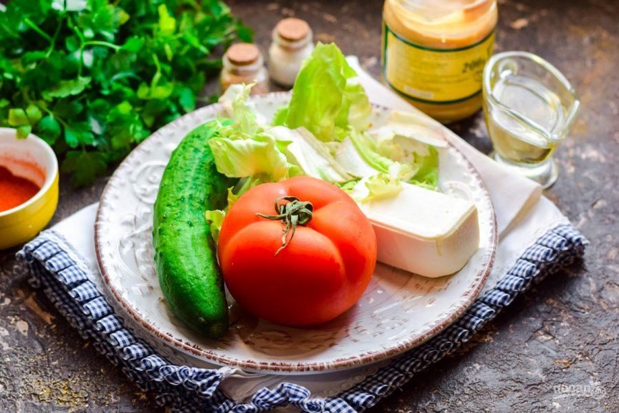 Греческий салат с горчичной заправкой