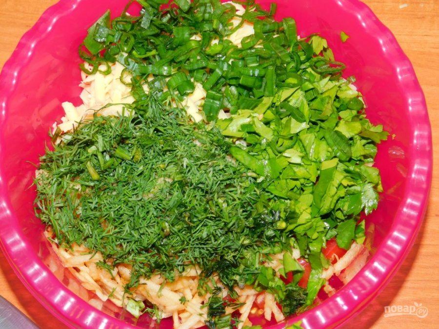Яблочный салат с зеленью