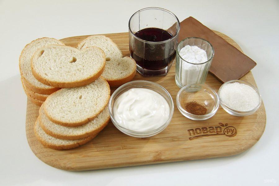 Ингредиенты для десерта с хлебом