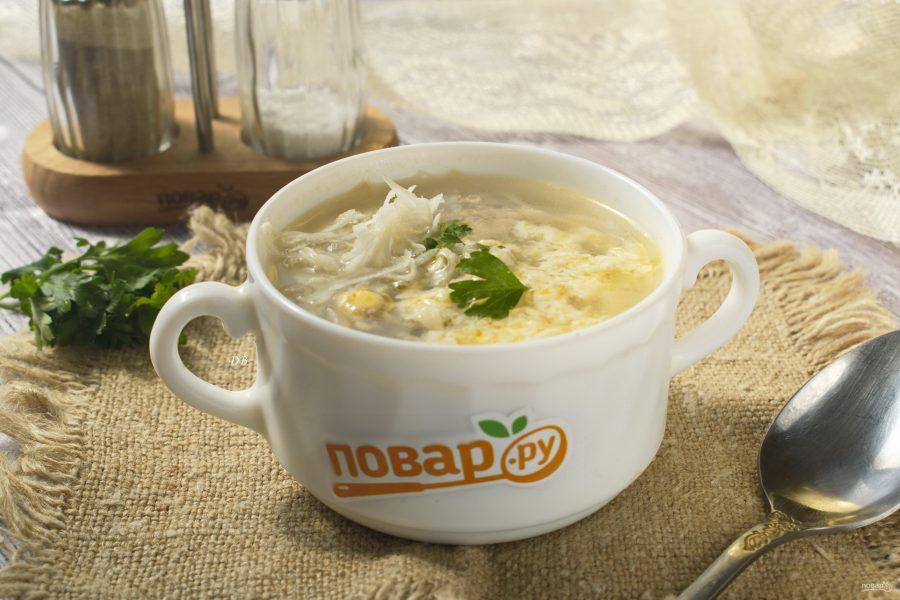 Суп с капустой, фаршем, сыром