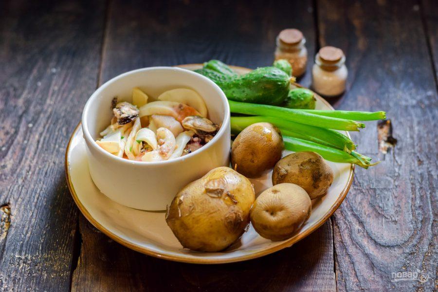 Картофельный салат с морепродуктами