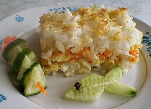 Рыбная запеканка с рисом