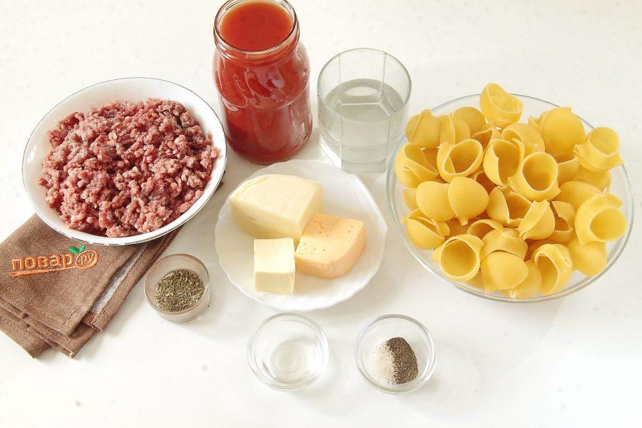 Макароны с мясом под соусом