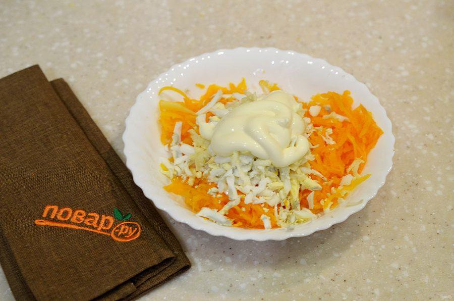 Салат из тыквы с яйцом и чесноком