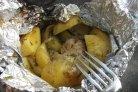 Курица на костре в фольге