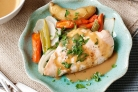 Курица с овощами под соусом