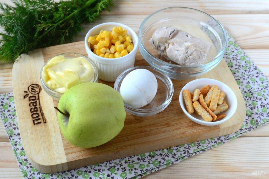 Ингредиенты для салата с вареной курицей