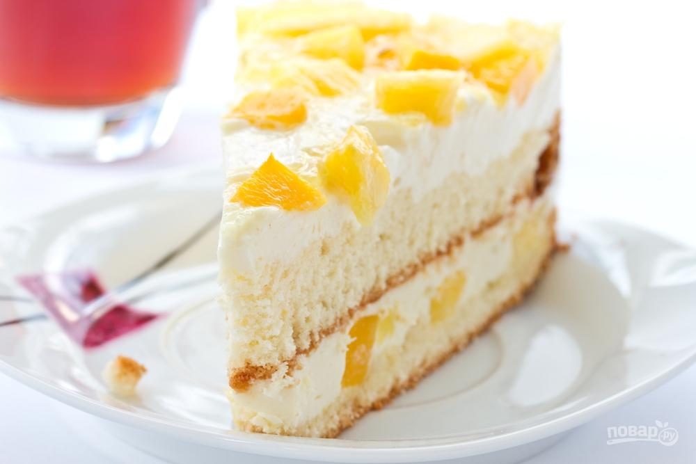 Ананасовый торт со сливочным сыром