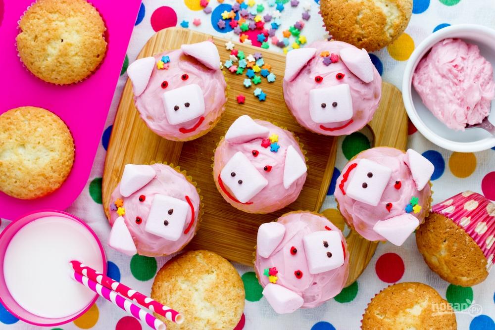 Кексики в виде поросят на Новый год Свиньи