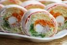 Лаваш с корейской морковкой и крабовыми палочками